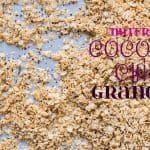 Nutfree Coconut Chia Granola laid out on a sheet pan with text overlay.