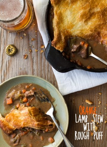 Top view of Orange Lamb Stew with Rough Puff, a piece of stew on a plate, and a glass of beer with text overlay.