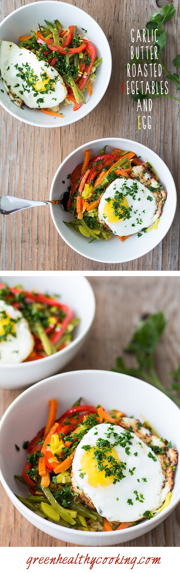 Collage of Garlic Butter Roasted Vegetables and Egg images with text overlay for Pinterest.