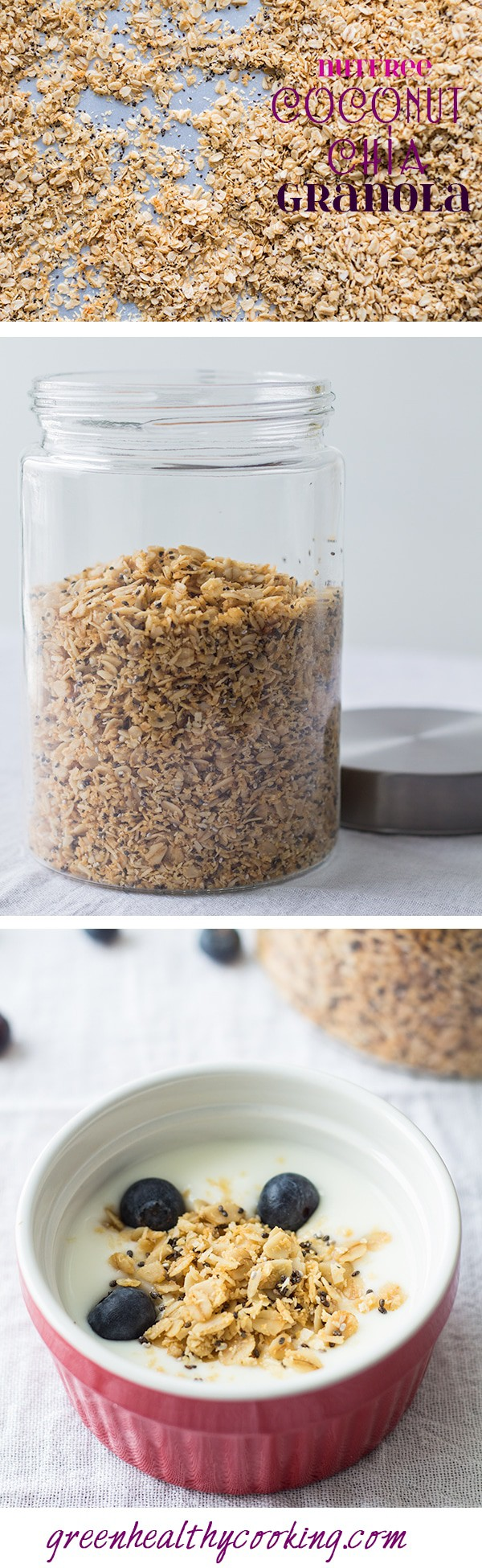 Collage of Nutfree Coconut Chia Granola images with text overlay for Pinterest.
