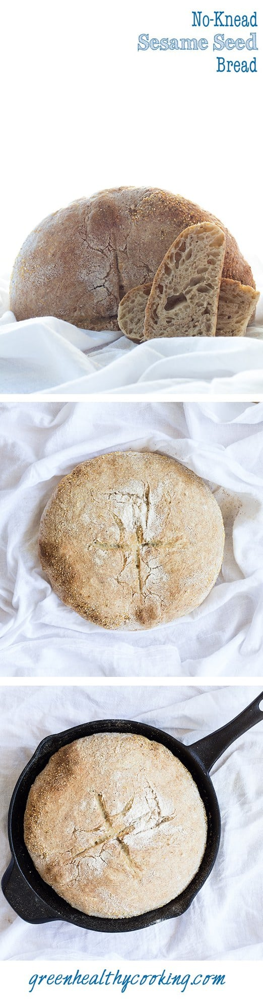 Collage of No-Knead Sesame Seed Bread images with text overlay for Pinterest.