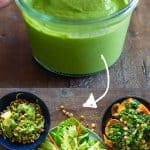 Pin collage for green sauce and 3 recipes with sauce on plates