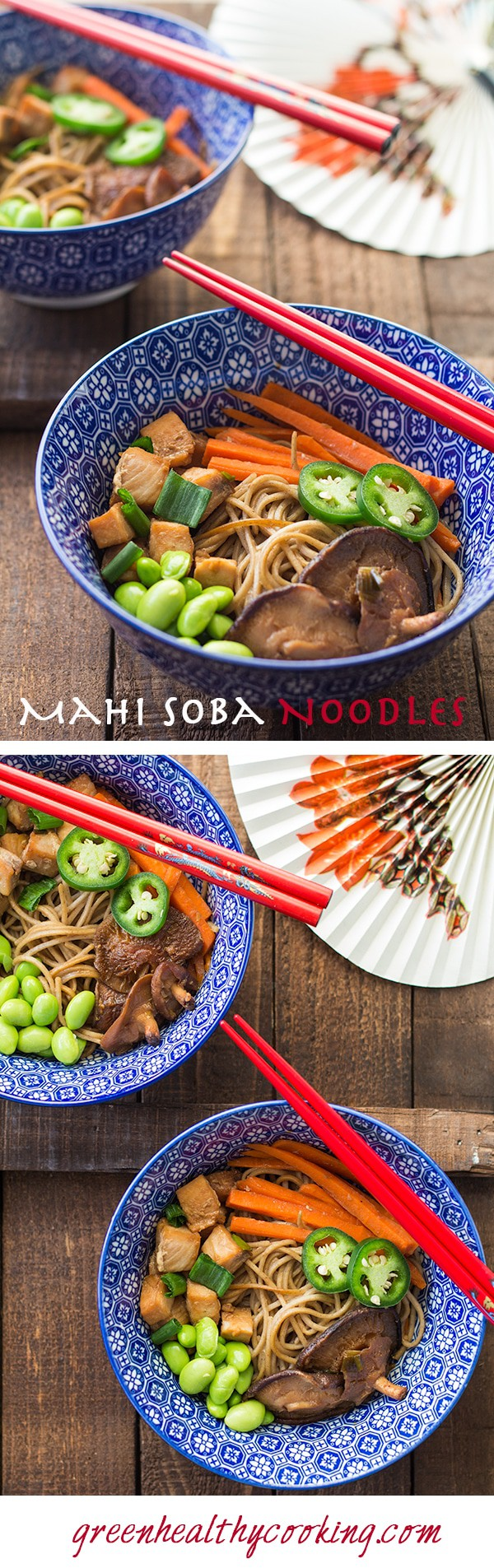 Collage of Mahi Mahi Soba Noodle Stir-Fry images with text overlay for Pinterest.