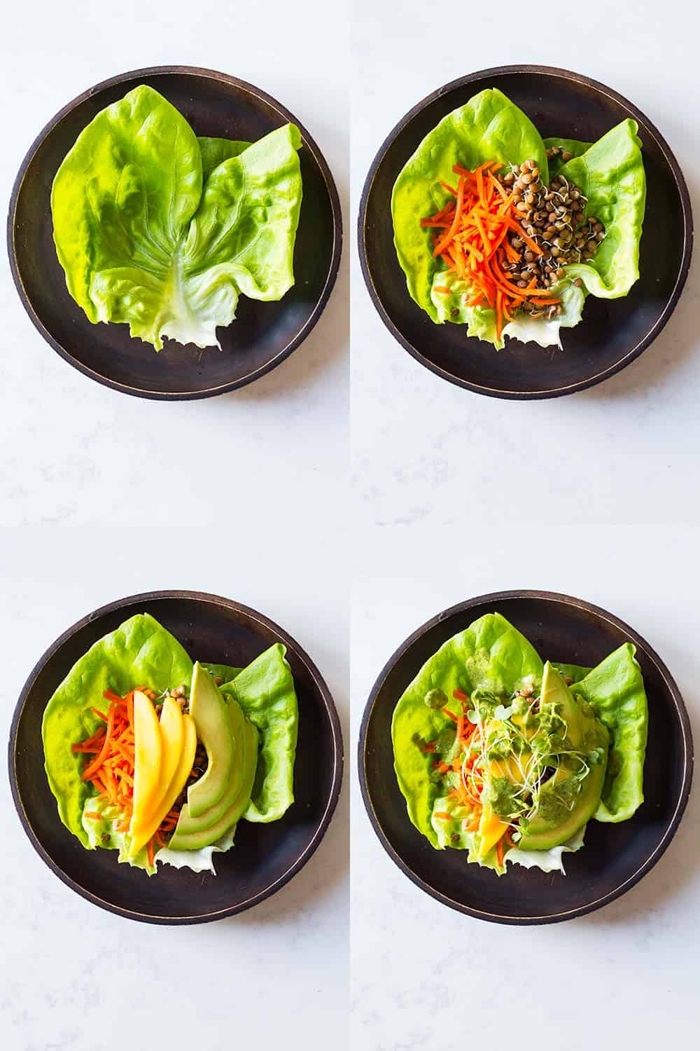 Step-by-step how-to instructions to build a vegan lettuce wrap.