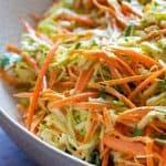 texture of cabbage carrot salad close-up