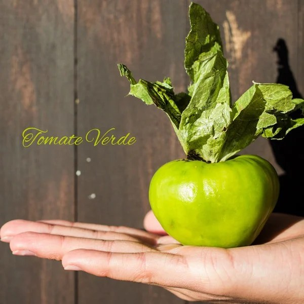 Hand holding a Tomate Verde - Tomatillo with text overlay.