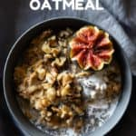 Carrot Cake Oatmeal in a grey bowl and title as text overlay for Pinterest.