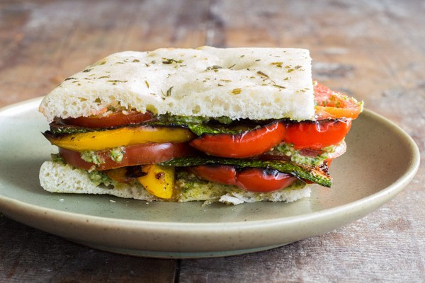 The perfect easy and quick, clean-eating and healthy-eating, vegan lunch or dinner or both: Grilled Veggie Sandwich with Cilantro Pecan Pesto