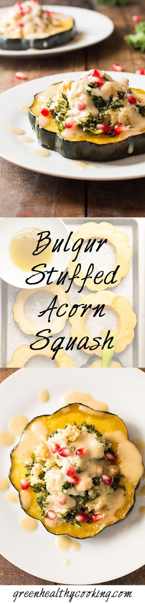 Collage of Bulgur Stuffed Acorn Squash images with text overlay for Pinterest.