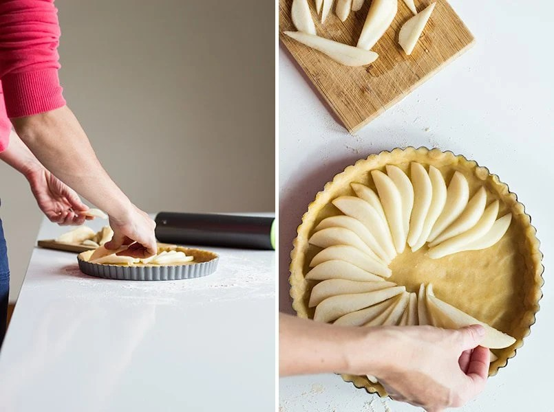 Left image: person placing pear slices on mold. Right image: top view of hands placing pear slices on mold with crust.