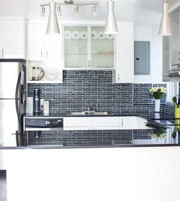 The New Kitchen of Green Healthy Cooking. White cabinets, black backsplash and countertops.