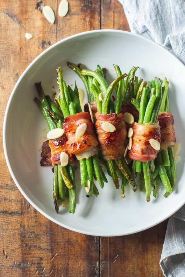 Bacon Wrapped Green Bean Bundles on Plate