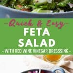 Collage of Feta Salad images with text overlay for Pinterest.