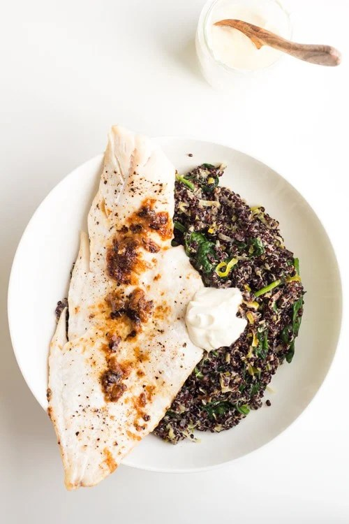 An easy, light but satisfying, healthy Haddock with Black Quinoa Risotto recipe including leek, spinach and creme fraiche. Wrapped up in only half an hour!
