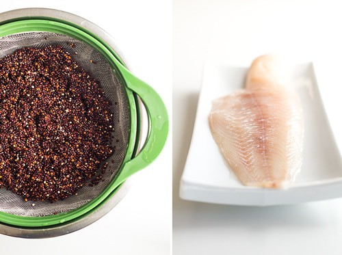Left: Black quinoa in a strainer basket resting on a bowl. Right: raw haddock on a white rectangular plate.