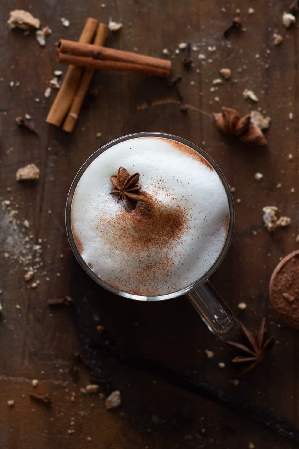 Mexican Hot Chocolate shown from above surrounded by spices