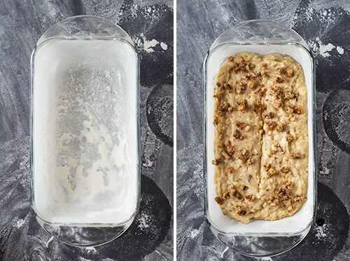 Left: greased and floured baking pan. Right: dough for Banana Bread in the baking pan topped with chopped walnuts.