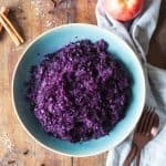 Braised Red Cabbage in a blue bowl