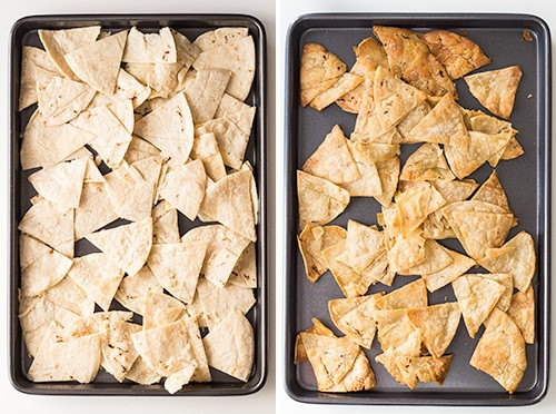 Left: raw tortilla triangles on a baking sheet. Right: baked tortilla triangles on a baking sheet.