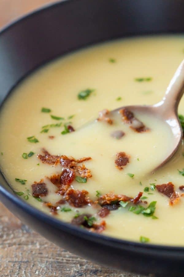 Potato Leek Soup Closeup of texture and crispy bacon