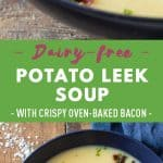 Collage Potato Leek Soup images with text overlay for Pinterest.