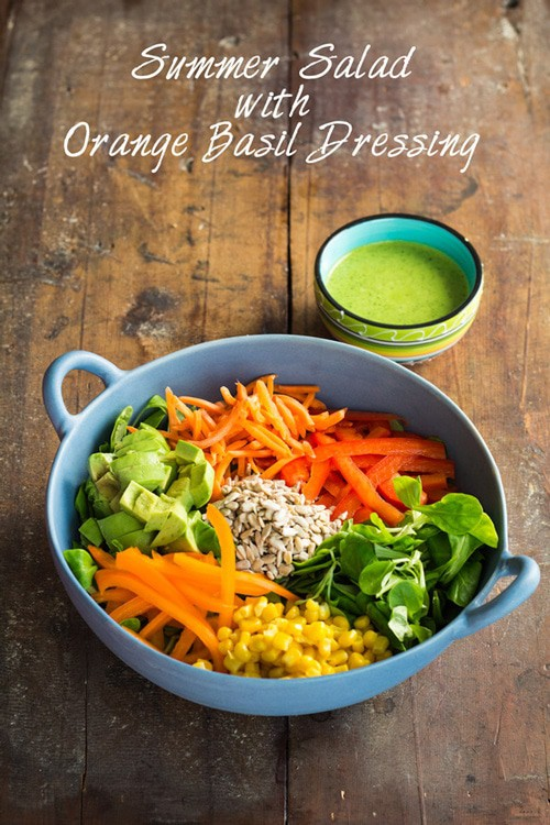 Summer Salad with Orange Basil Vinaigrette