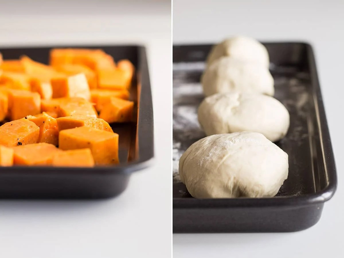 Left: sweet potato chunks on a baking tray. Right: balls of dough for pita bread on a baking tray.