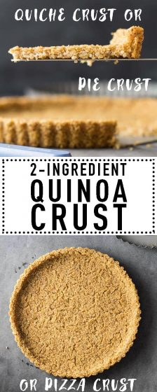 This 2-Ingredient Quinoa Crust is both a naturally gluten-free pie crust and a naturally vegan pie crust. It serves amazing as quiche crust and if made flat even as quinoa pizza crust.