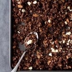 Chocolate Granola on a baking sheet