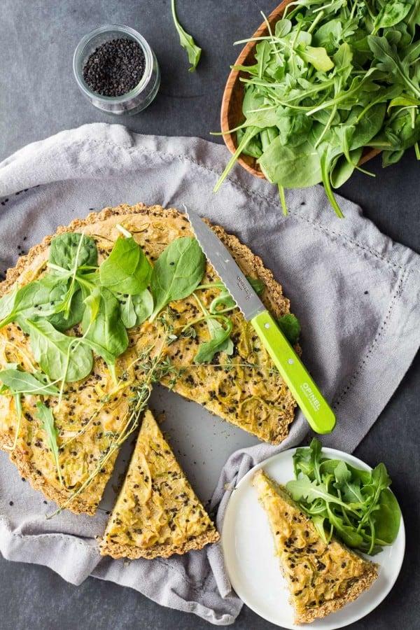 gluten-free vegan quiche with salad