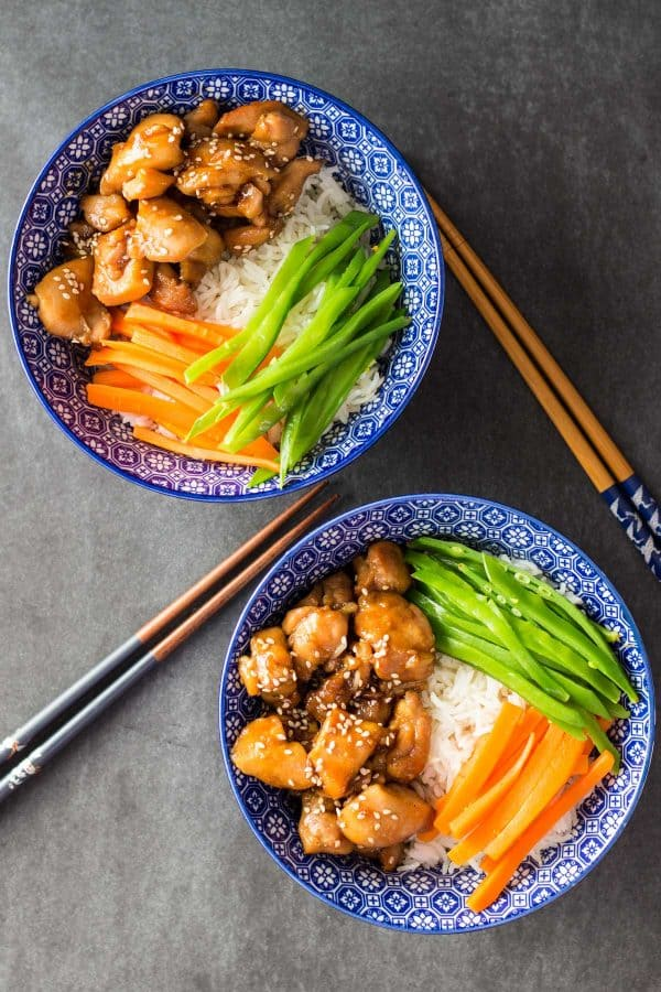 Vietnamese Sticky Chicken over rice and vegetables