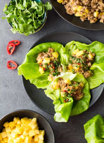 Ground Pork Lettuce Wraps on a black plate