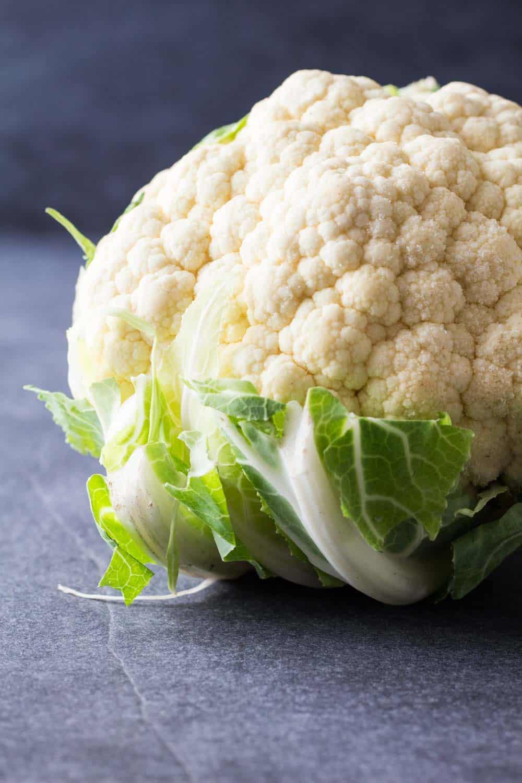 Close up of large cauliflower for Chicken Cauliflower Curry