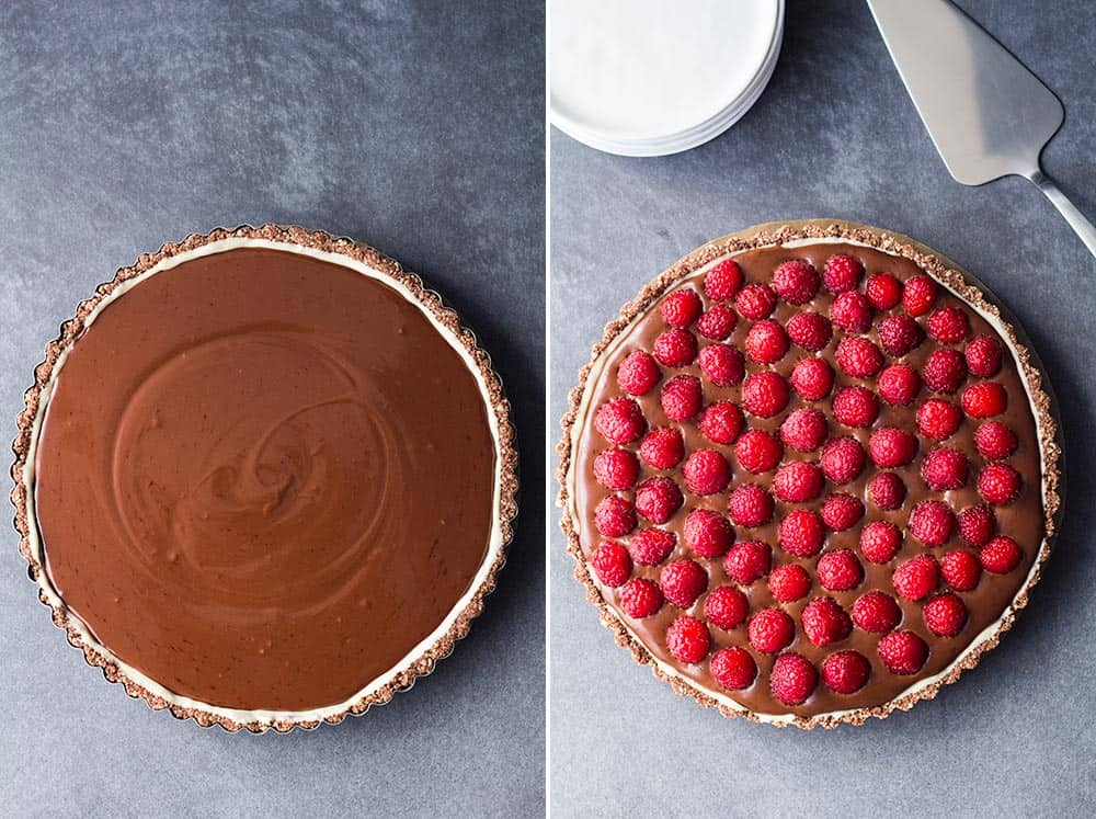Left: coconut cream chocolate filling for chocolate raspberry tart. Right: finished chocolate raspberry tart.