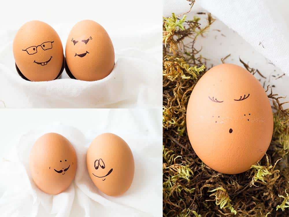 A mess-free, quick, easy and funny way to decorate hard boiled eggs. Decorating Easter Eggs is fun for the kids!! It being mess-free: a blessing for mom!