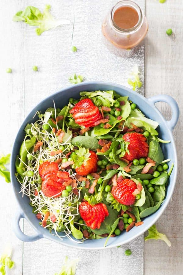 Let's pray to the spring Gods by indulging in this healthy and delicious Strawberry Bacon Spring Salad with Maple Mustard Balsamic Dressing . Yum!