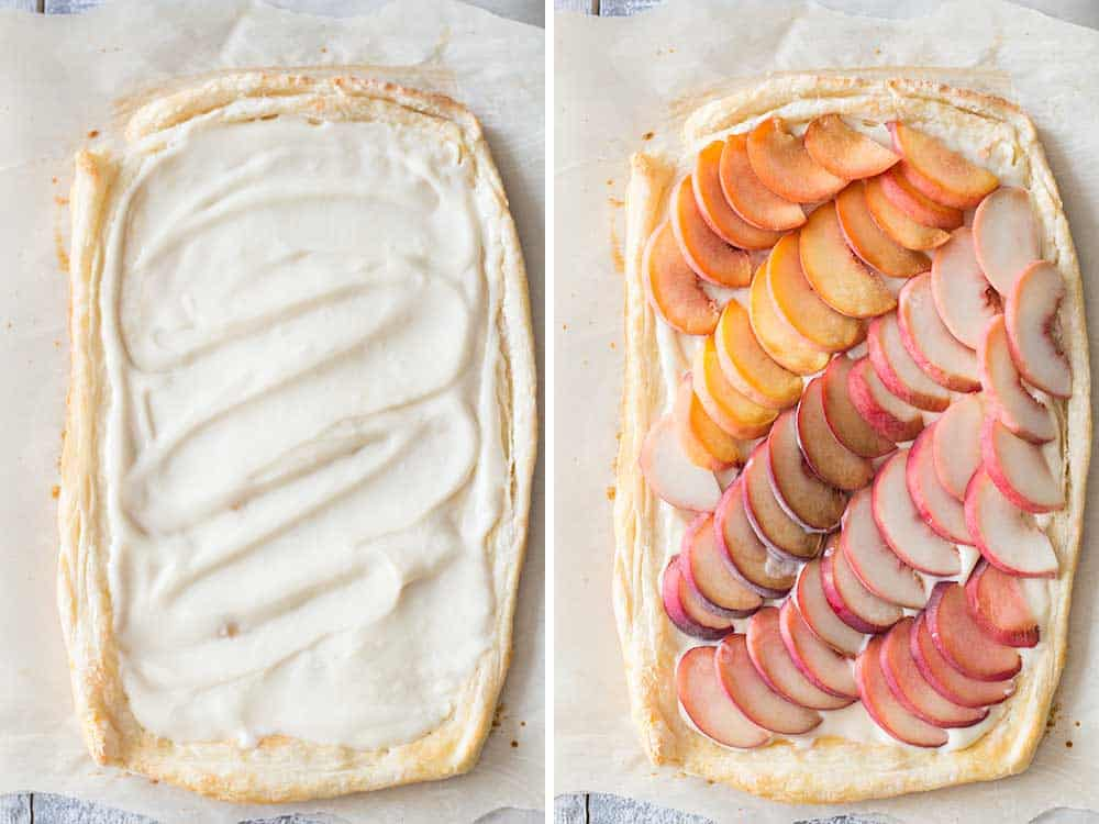 Left: cream cheese mix spread over pastry puff. Right: peach slices spread on top of cream cheese mix.