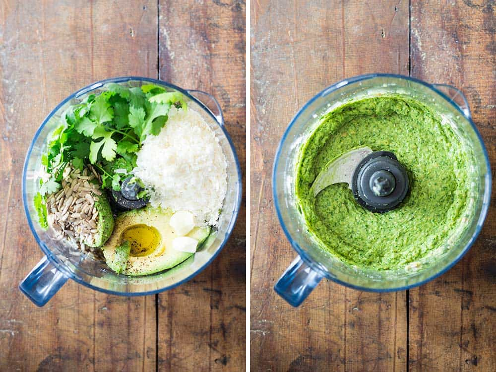 A nut-free avocado cilantro pesto choke full of nutrition and prepared in 5 minutes! Made with delicious sunflower seeds and flavorful Parmesan cheese