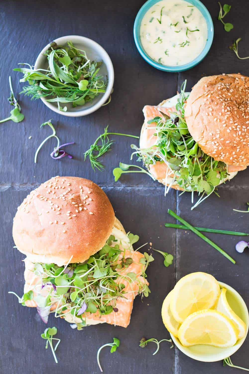 Salmon Burgers with Herb Mayonnaise and micro greens