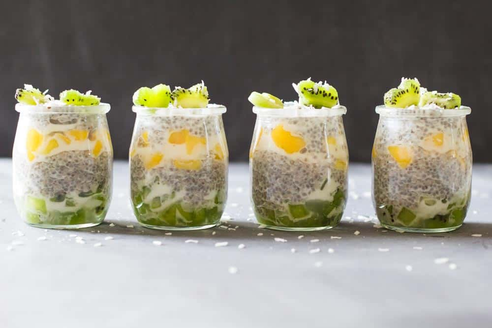 Four jars of Tropical Chia Pudding.