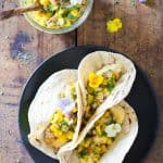 Kid-friendly Easy Fish Tacos with Mango Salsa. A healthy and quick to prepare delicious weeknight dinner sure to make the whole family happy.