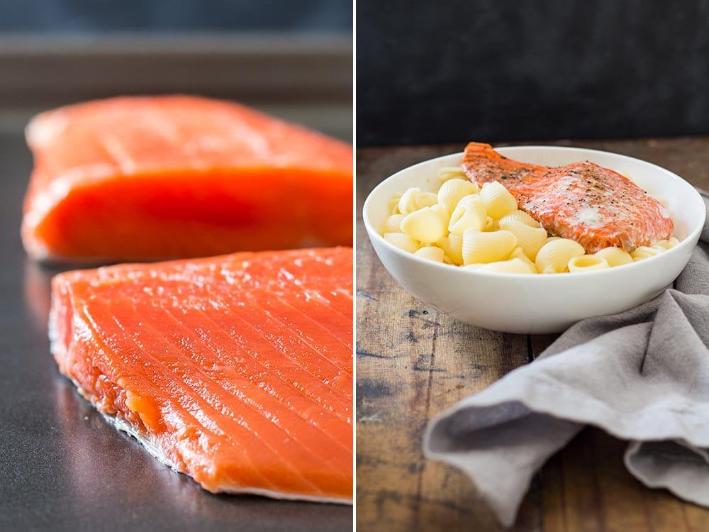 Left: fresh Sockeye salmon filets. Right: cooked Sockeye salmon filet with pasta in a white bowl.