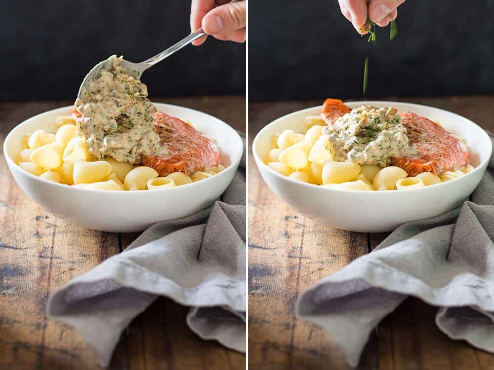 Left: spoon topping Sockeye Salmon Pasta with Shiitake mushroom sauce. Right: hand garnishing the bowl with fresh dill.