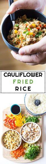 long pin image for cauliflower fried rice recipe