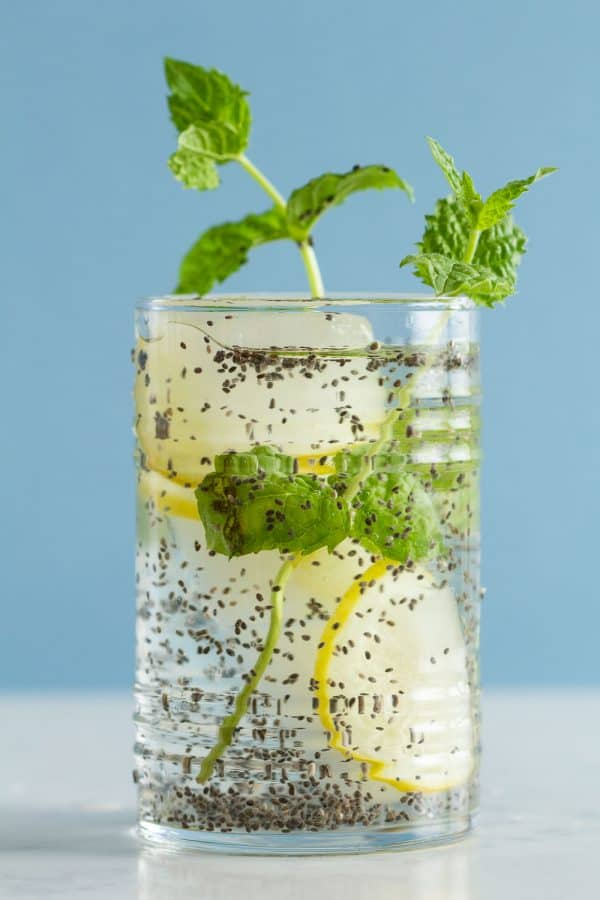 Lemon Infused Water with Chia Seeds and Mint