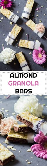 These Almond Granola Bars are protein-rich and iron-rich easy no-bake granola bars sweetened with maple syrup and a tiny bit of white chocolate. Ohh, and they taste like chocolate covered almonds by the way ;)
