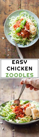Zucchini Noodles (a.k.a. Zoodles) are the base of this Easy Chicken Zoodles recipe and convert it into a naturally gluten free dish full of vegetable power.