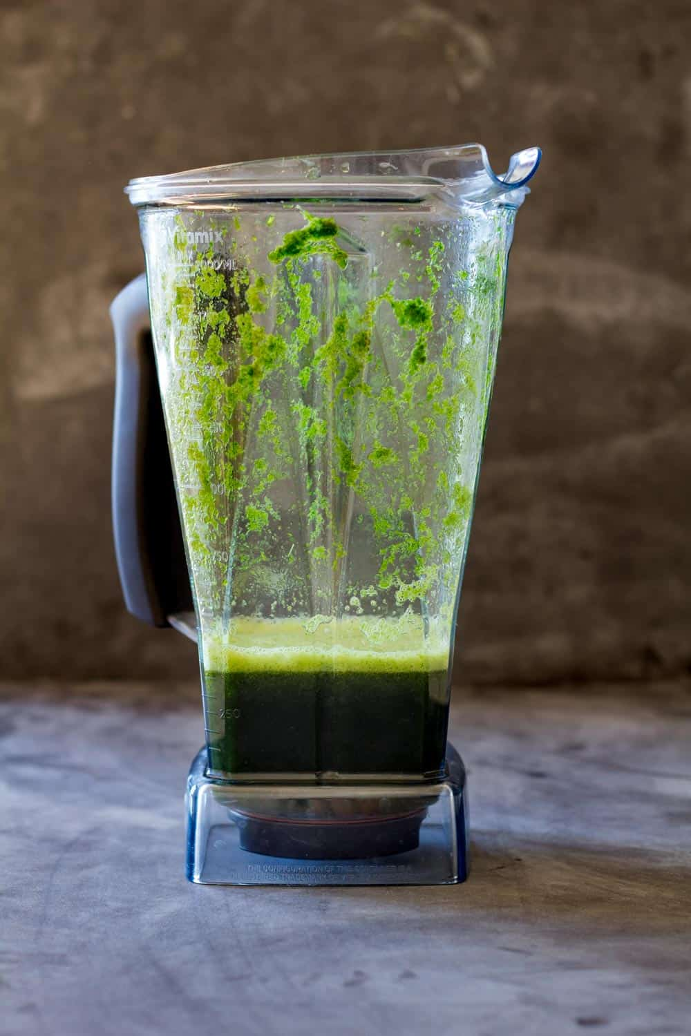 Blender with fresh coriander blended with water.