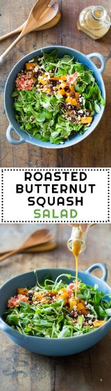 This healthy Roasted Butternut Squash Salad is the absolute ultra perfect fall salad. Warm butternut squash cubes, delicious dried cranberries, crisp walnuts, soft goat cheese and silky lamb's lettuce with the best salad dressing in the world - Maple Mustard Balsamic Dressing.