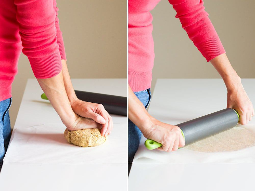Left image: hands kneading crust for apple tart. Right image: apple tart crust being flattened with rolling pin.